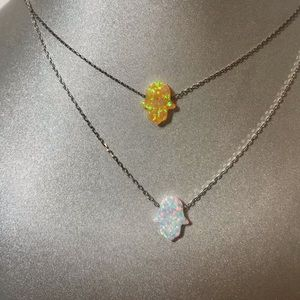 Jewelry - Sterling silver white or yellow Opal Necklace